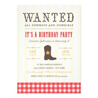 ¡Yeehaw Invitación de la fiesta de cumpleaños del