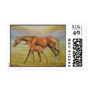 Yegua con el potro timbres postales