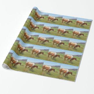 Yegua de la foto del caballo y decoración del papel de regalo