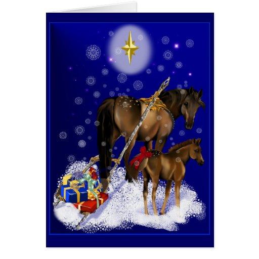 Yegua del navidad y tarjeta del bebé