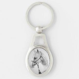 Yegua occidental del llavero del caballo llavero plateado ovalado