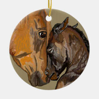 Yegua y potro adorno navideño redondo de cerámica