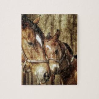 Yegua y potro - arte de los amantes del caballo puzzle