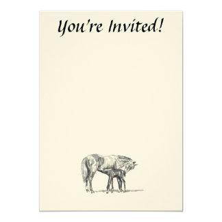 Yegua y potro invitación 12,7 x 17,8 cm