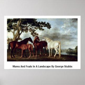 Yeguas y potros en un paisaje de George Stubbs Impresiones