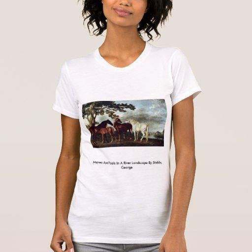 Yeguas y potros en un paisaje del río t-shirts