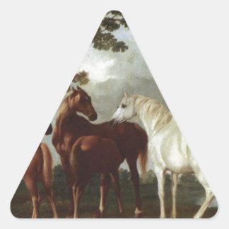 Yeguas y potros en un paisaje George Stubbs del Pegatina Triangular