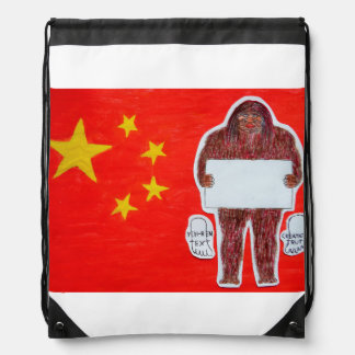 Yeh-ren text on Chinese flag, Drawstring Bag