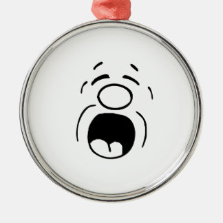 Yelling Face Round Metal Christmas Ornament