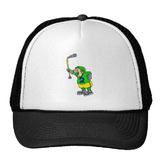 Yelling player holding stick trucker hat