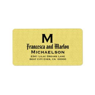 Yelllow and Black Wedding Monogram Personalized Address Label