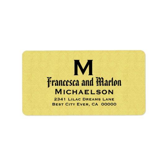 Yelllow and Black Wedding Monogram Personalized Label