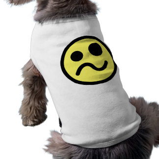 Yelllow Confused Smiley Face Doggie Tee