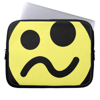 Yelllow Confused Smiley Face Laptop Sleeve