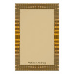 yelllow gold brown customized stationery