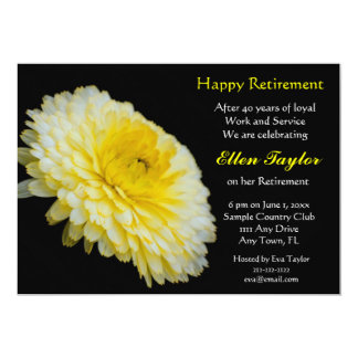 Yello and Black Floral Retirement Party Invitation