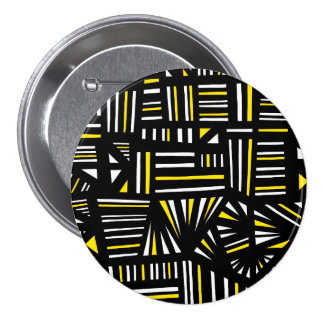 Yello Black Abstract 3 Inch Round Button