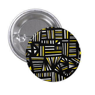 Yello Black Abstract 1 Inch Round Button
