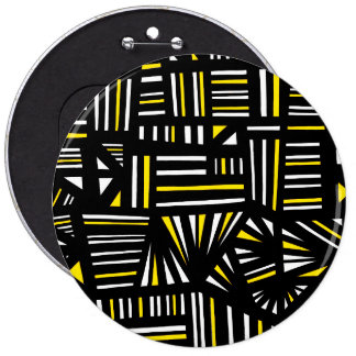 Yello Black Abstract 6 Inch Round Button