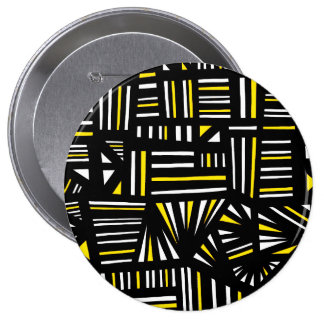 Yello Black Abstract 4 Inch Round Button