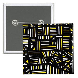 Yello Black Abstract 2 Inch Square Button