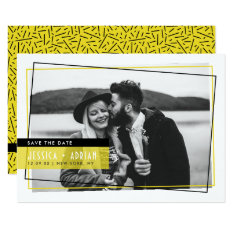 Yello & Black Abstract Frame Photo Save The Date Card at Zazzle
