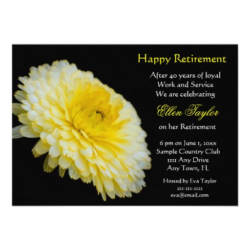 Yello e invitación floral del fiesta de retiro del