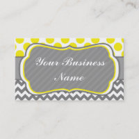 Yello, Grey,  Polka Dots and Chevron Business Card