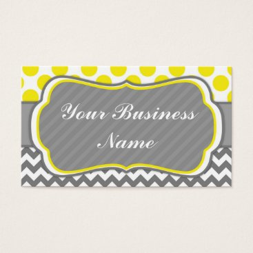 Professional Business Yello, Grey,  Polka Dots and Chevron Business Card