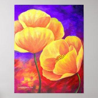 Yello Poppy Flower Painting Art - Poster print