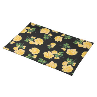 Yello roses floral pattern on black cloth placemat