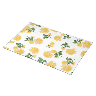 Yello roses floral pattern on white cloth placemat