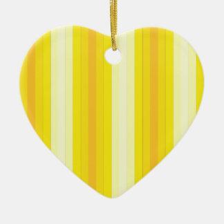 Yello Stripes Double-Sided Heart Ceramic Christmas Ornament