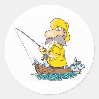 Yellos que llevan del pescador pegatina redonda