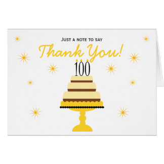 Yellow 100th Birthday Cake Thank You Note Card