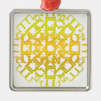 Yellow 101STAR Square Metal Christmas Ornament