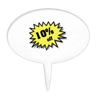 Yellow 10 Percent Off Cake Topper