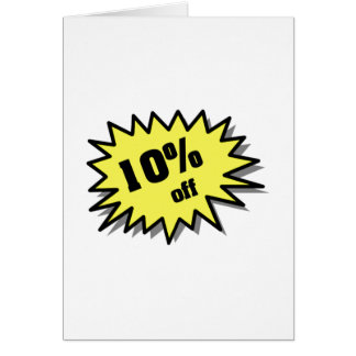 Yellow 10 Percent Off Card