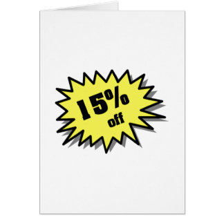 Yellow 15 Percent Off Card