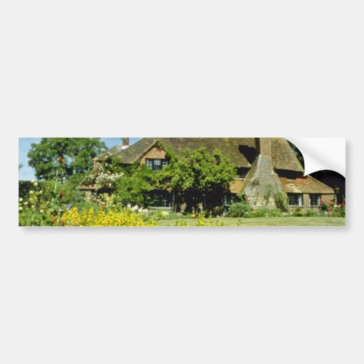 yellow 15th Century House, Framed By Weeping Willo Car Bumper Sticker