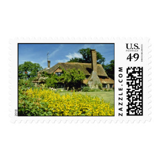 yellow 15th Century House, Framed By Weeping Willo Postage Stamps