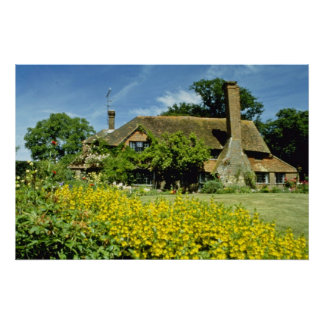 yellow 15th Century House, Framed By Weeping Willo Poster