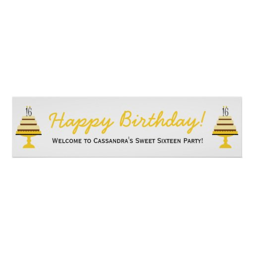 Yellow 16th Birthday Cake Party Banner Poster