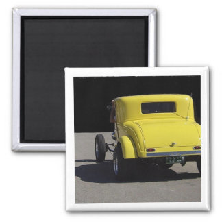 Yellow 1932 Dodge Hot Rod 2 Inch Square Magnet
