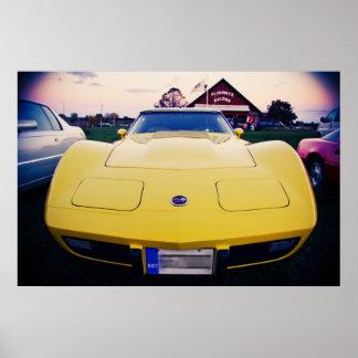 Yellow 1977 Chevrolet Corvette Poster
