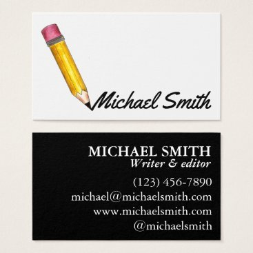 Beach Themed Yellow #2 Pencil Writer Editor Teacher Blogger Business Card
