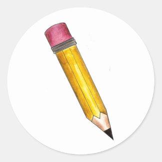 Yellow #2 Sharp School Pencil Pink Eraser Stickers