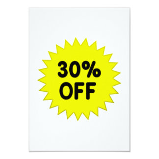 Yellow 30 Percent Off Card