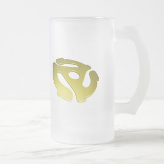 Yellow 3D 45 RPM Adapter 16 Oz Frosted Glass Beer Mug