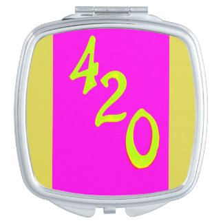 yellow 420 on pink compact mirror